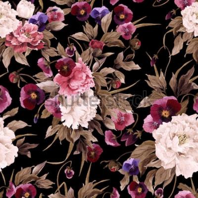 Image Motif floral sans couture avec pivoines et pensée, aquarelle