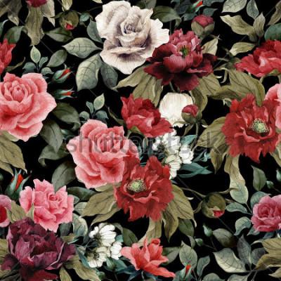 Image Motif floral sans couture avec roses roses et pivoines sur fond sombre, aquarelles