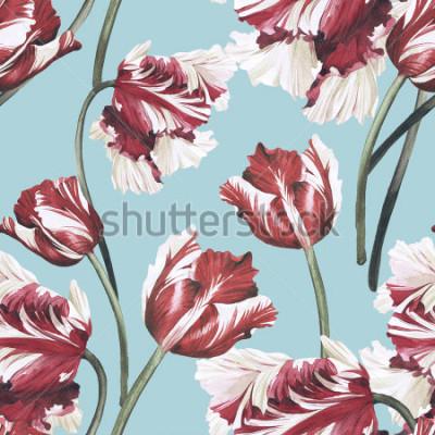 Image Motif floral sans couture avec tulipes, aquarelle