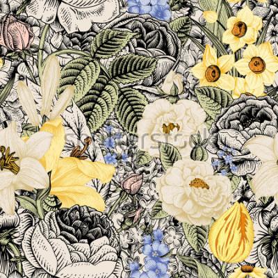 Image Motif floral sans couture de l'été. Fleurs Vintage Art. Fleurs roses, lis blancs et jaunes, jonquilles, tulipes et delphinium bleu et myosotis sur fond beige et noir.