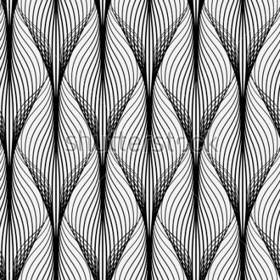 Image Motif géométrique abstrait avec des lignes ondulées. Fond transparent ornement monochrome. Version pixellisée