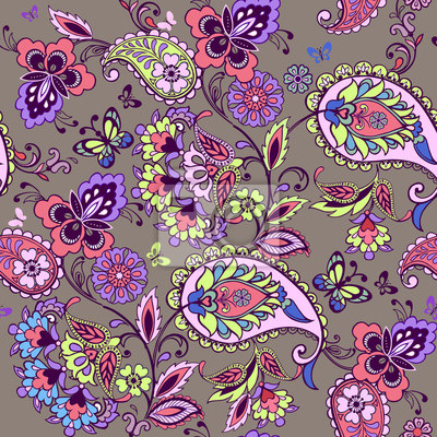 Motif Paisley Oriental Paisible En Tons Roses Fond Decran Floral Peintures Murales Tableaux Complexe Persan Nuances Myloview Fr
