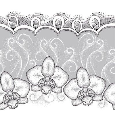 Image Motif sans coutures avec trame à points Orchidée ou Phalaenopsis, tourbillons blancs et dentelle décorative sur le fond gris. Fond floral dans le style de pointwork.