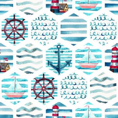 Image Motif sans soudure d'aventure aquarelle en patchwork marine.
