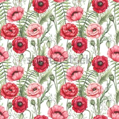 Image Motif transparent coloré de coquelicots aquarelles et de feuilles