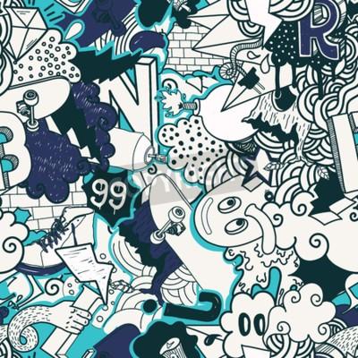Image Motif transparent coloré. Graffiti, doodles, rue, art, Illustration, bleu, Couleurs Composition éléments bizarres et des personnages pour skateboard, vêtements de rue, streetwear, papiers peints tissu
