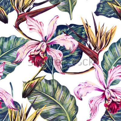 Image Motif tropical floral sans soudure, fond d'été avec des fleurs exotiques, feuilles de palmier, feuille de jungle, orchidée, fleur oiseau du paradis. Papier peint botanique, illustration de style h