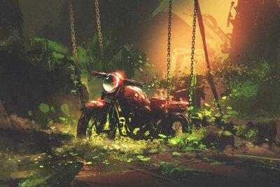 Image Moto rouillée abandonnée dans la végétation envahie, style d'art numérique, peinture d'illustration