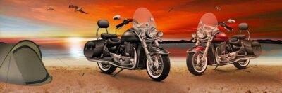 Image Moto, vélo sur la plage au coucher du soleil le soir