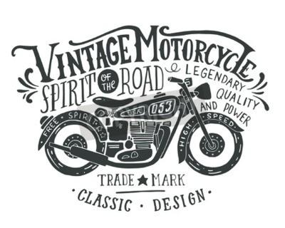 Image Moto vintage. Main, dessiné, grunge, vendange, Illustration, main, lettrage, retro, vélo Cette illustration peut être employée comme copie sur des T-shirts et des sacs, stationnaires ou comme affiche.