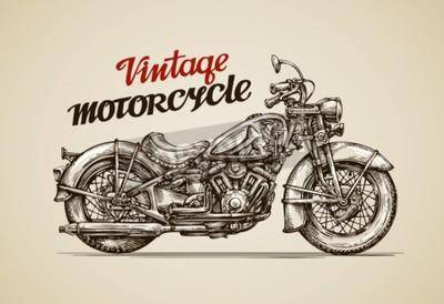 Image Moto vintage. Main, dessiné, moto, vecteur, Illustration