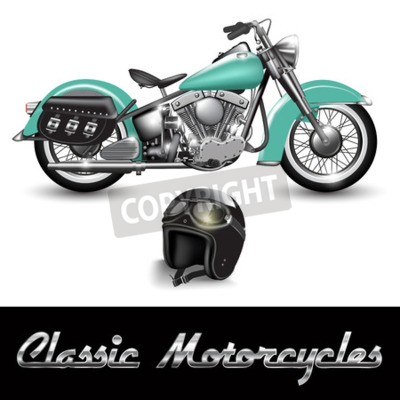 Image Motocyclette classique et casque avec lunettes de protection. Illustration vectorielle