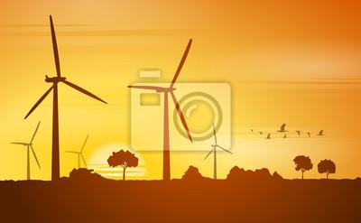 Image Moulins à vent de Silhouette