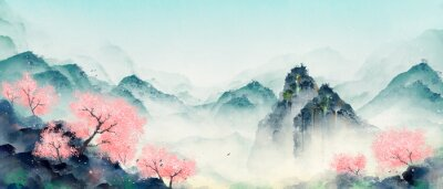 Image Mountain forest with peach blossoms in spring and summer. Oriental ink landscape painting.