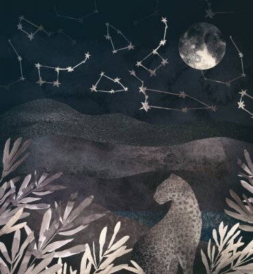 Image .Mountain night landscape with leopard. .Collage of textured shiny metallic paper