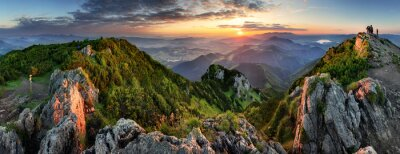 Image Mountain valley during sunrise. Natural summer landscape in Slovakia