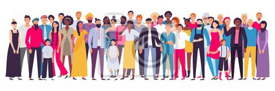 Image Multiethnic group of people. Society, multicultural community portrait and citizens. Young, adult and elder people vector illustration