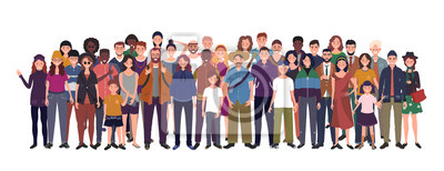 Image Multinational group of people isolated on white background. Children, adults and teenagers stand together. Illustration