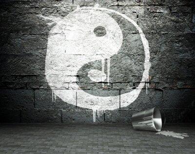 Image Mur de graffiti avec le yin yang, rue fond