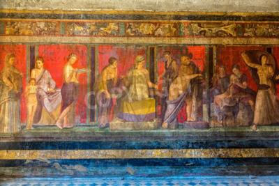 Image Mur peint dans la ville de Pompéi détruit en 79BC par l'éruption du Vésuve