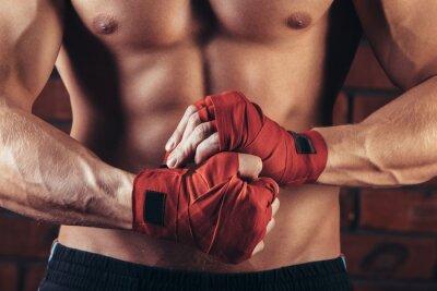 Image Musculaire, combattant, rouge, bandages, contre, fond, brique, mur