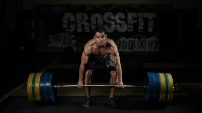 Image Musculation. Sport. Endurance. Musculaire, sans chemise, athlète, levage, lourd, barre, gymnase