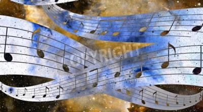 Image Musique, note, espace, étoiles, abstrtact, couleur, fond