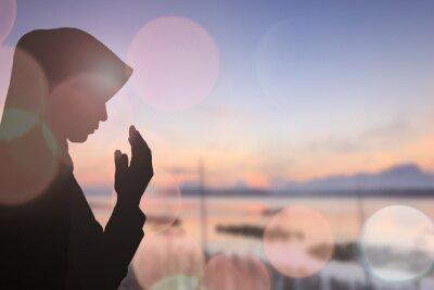 Image Musulman, femme, prier, beau, fond