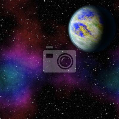 Mysterious, planète inconnue dans l'univers. La vie parmi les étoiles. Vue panoramique sur l'espace profond. Sombre ciel nocturne plein d'étoiles. La nébuleuse dans l'espace.