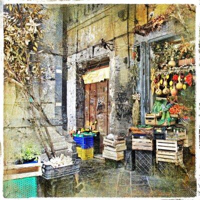 Image Napoli, Italie - vieilles rues avec petit magasin, image artistique