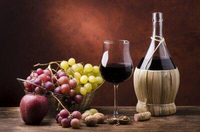 Image Natura morta con fiasco di vino efrutta