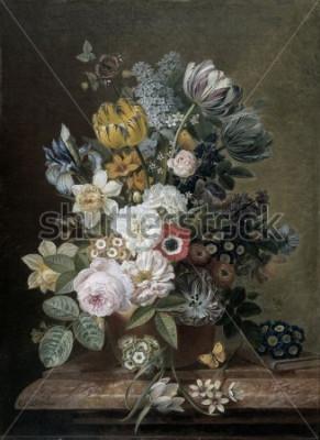 Image Nature morte aux fleurs, d'Eelke Jelles Eelkema, v. 1815-39, peinture à l'huile néerlandaise, huile sur toile. Bouquet de roses, tulipes, jonquilles, iris, sur un socle en pierre. Parmi les fl