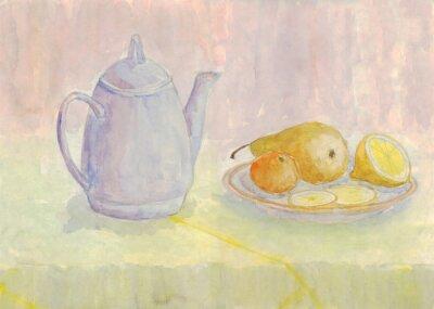 Image Nature morte avec bouilloire et fruits. Poire, citron, mandarine sur la plaque. La peinture à l'aquarelle