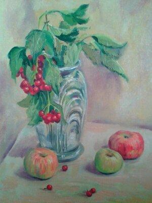 Image Nature morte avec bouquet et fruit. Pommes et groseilles rouges. Peinture à l'huile