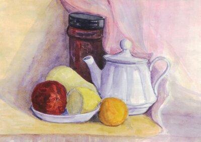 Image Nature morte avec des fruits et une bouilloire. Poire, citron, mandarine sur la plaque. La peinture à l'aquarelle