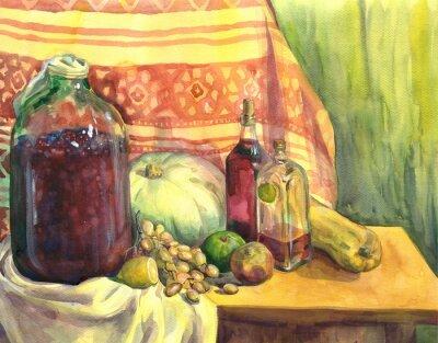 Image Nature morte avec du vin, des fruits et des légumes. La peinture à l'aquarelle