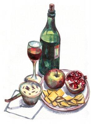 Image Nature morte avec du vin et des fruits. La peinture à l'aquarelle