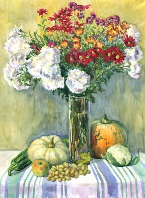 Image Nature morte avec un bouquet de fleurs, de fruits et de légumes. La peinture à l'aquarelle
