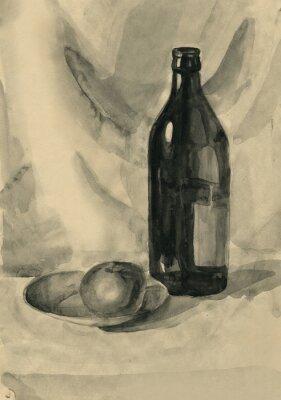 Image Nature morte avec une bouteille et une pomme, aquarelle