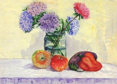 Image Nature morte. Bouquet d'asters, pommes, poivrons, aubergines. La peinture à l'aquarelle