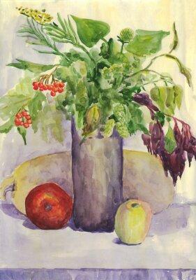 Image Nature morte. Bouquet, Pomme, courgette, Rowan. La peinture à l'aquarelle
