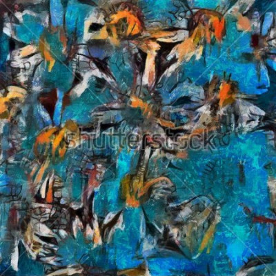 Image Nature morte un bouquet de marguerites dans un vase bleu. Exécution expressive au impasto. Huile sur toile avec des éléments de peinture au pastel dans un style contemporain.