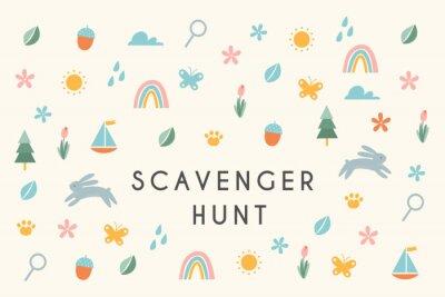 Image Nature Scavenger Hunt Kids Activity Illustration or Card. Vector Design
