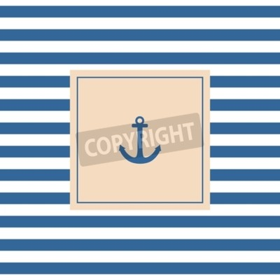 Image Nautique, vecteur, carte, ou, invitation, ancre, pastel, fond, bleu, blanc, Rayures