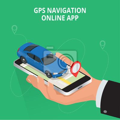Image Navigation GPS Mobile Voyage Et Tourisme Afficher Une Carte Sur Le Telephone