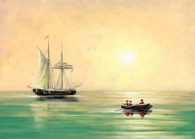 Image Navire et bateau, paysage marin, peintures numériques à l'huile