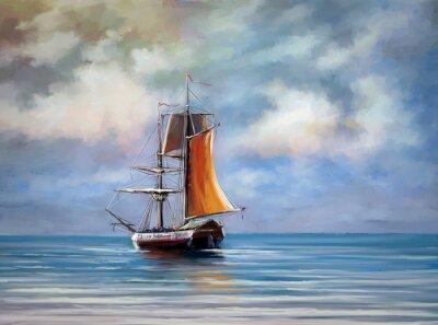 Image Navire, mer. Paysage. Peintures numériques à l'huile.