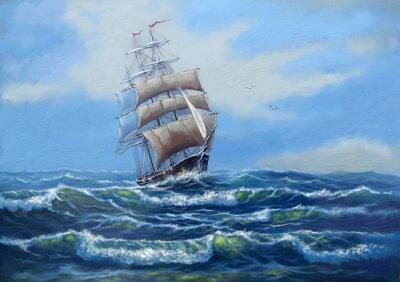 Image Navire, peinture à l'huile de mer paysage, art