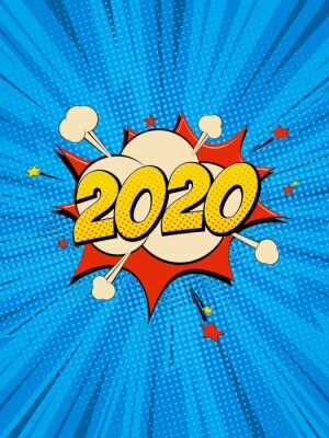 Image New Year 2020 pop art comic background lightning blast halftone dots.