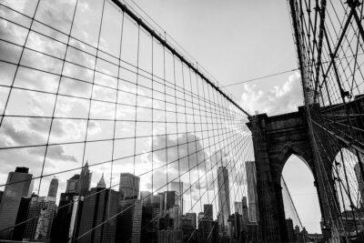 Image New York City, Pont de Brooklyn noir de l'horizon et blanc